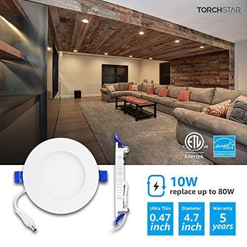 TORCHSTAR 10W 4'' Ultra-Thin Recessed Ceiling Light with Junction Box, 4000K Cool White Wafer Light, Dimmable Downlight, 650lm 80W Equivalent ETL and Energy Star Certified, Pack of 12 by TORCHSTAR (Image #1)