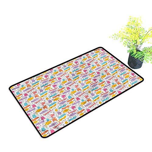 Door mat Stair Tread Cat,Sleeping Playing Joyful Print Multicolor,H23xW35 inch ()