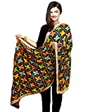 Weavers Villa® Punjabi Hand Embroidery Phulkari Faux Chiffon Black Dupatta, Stoles