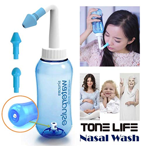 Tonelife Nasal Nose Wash Bottle Nasal Cleanse 10oz 300ml Nose Cleaner Clean Irrigator Allergies Relief Pressure Rinse Neti Pot Cleanser Irrigation Nasal Cleansing Washer Sneezer Washing,Blue Color by Tonelife