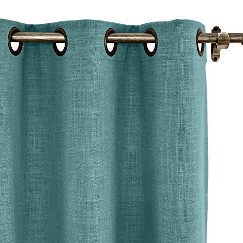 ChadMade 84W x 102L Inch Everglade Teal Faux Linen Curtain Drapes with Blackout Lining, Room Darkening Antique Bronze Grommet Curtain for Sliding Glass Door Patio Door Living Room (1 Panel) - Glass Sage Bronze