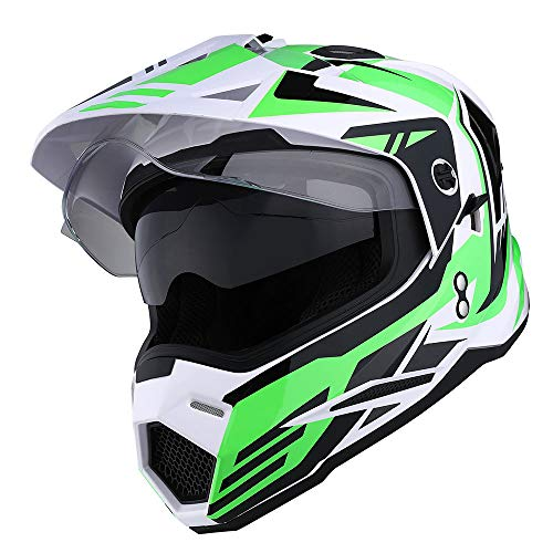 1Storm Dual Sport Motorcycle Motocross Off Road Full Face Helmet Dual Visor Storm Force Green, Size ()