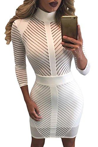 Blanc Sheer diagonale à rayures Robe club wear Soirée décontractée Taille L UK 12EU 40