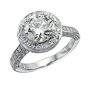 GIA Certified 14k white-gold Round Cut Diamond Engagement Ring (2.64 cttw, F Color, VS2 Clarity)