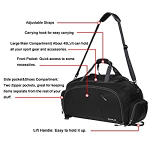 3-Way Travel Duffel Bag Backpack Travel Luggage Gym Sports Bag with Shoe Compartment for Men and Women