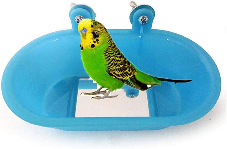 Bird Bath with Mirror Toy for Pet Small Medium Parrot Budgie Parakeet Cockatiel Conure Lovebird Finch Canary African Grey Cockatoo Amazon Cage Healthy Shower Bathing Tub Food Feeder Bowl