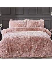 Sleepdown lyxig lång hög fuskpäls rouge rosa supermjuk lättskött täcke täcke täcke sängkläder set med örngott – dubbel (200 cm x 200 cm), polyester
