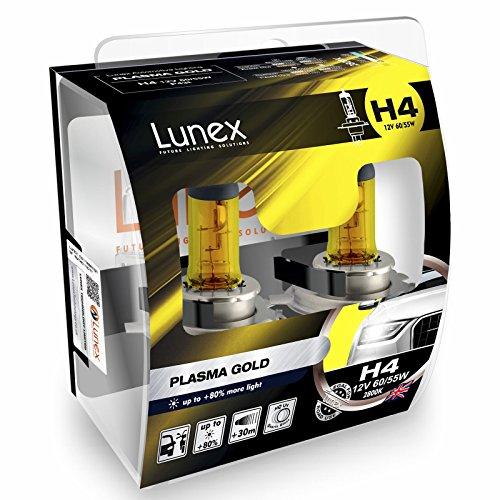 LUNEX H4 PLASMA GOLD Headlight Halogen Bulbs 472 12V 60/55W P43t 2800K duobox (2 units)