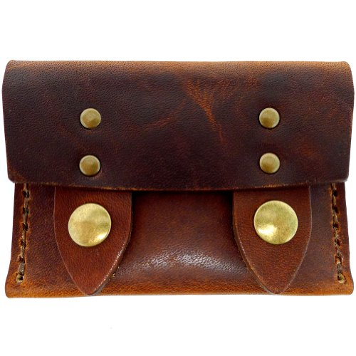 DaLuca Brass Antique Leather Horizontal Dublin Men's Snap Wallet Chestnut rw8qnr4p0