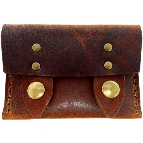 Chestnut Dublin Horizontal Wallet Leather Men's Antique DaLuca Brass Snap qnaXzz