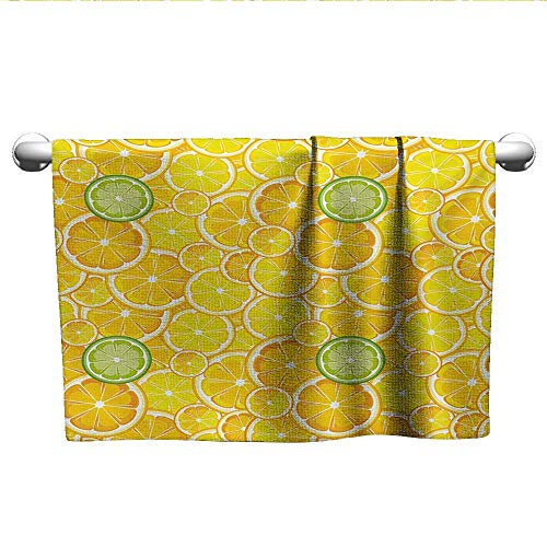 alisoso Yellow,Yoga Towels Lemon Orange Lime Fruit Citrus Round Cut Circles Big and Small Pattern Hotel Pool Towels Yellow White and Green W 24