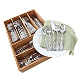 oneida stainless flatware tuscany - Oneida Tuscany 65-Pc Set with Bamboo Storage Caddy (Service for 12)