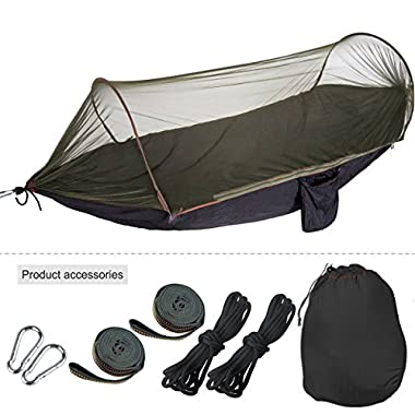 Hammock with Mosquito Net Tent 8.2-6.6 Feet for 4 Season Outdoor Camping That can be used as a Travel Bed and Comes with 2 Extra Sturdy Tree Straps(black)