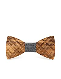 Mahoosive Men's Classic Handmade Wood Plaid Bow Tie With Wooden Gift Box