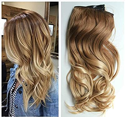 17 Inches 120grams Thick One Piece Half Head Wavy Curly Ombre Clip in Hair Extensions