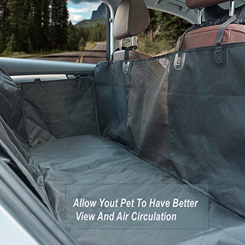 """MEGA PET Large Dog Car Seat Covers For Cars/Trucks/SUV, Waterproof Hammock Style With Mesh """"Window"""" ,Nonslip Backing&Side Flaps Dog Seat Cover For Back (Bottom Fill Convertible)"""