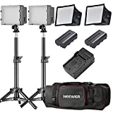Neewer 2 Packs CN-160 LED Camera Photo Video Studio Lightning Kit:(2)160 LED Dimmable Panel Light,(2)32 inches/80 centimeters Light Stand,(2)Diffuser,(2)Rechargeable Li-ion Battery,(1)Charger,(1)Case
