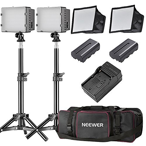 Neewer 2 Packs CN-160 LED Camera Photo Video Studio Lightning Kit:(2)160 LED Dimmable Panel Light,(2)32 inches/80 centimeters Light Stand,(2)Diffuser,(2)Rechargeable Li-ion Battery,(1)Charger,(1)Case by Neewer