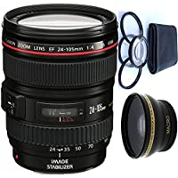 Canon 24-105mm L Lens (WHITE BOX) + 4pc Macro Lenses Set (+1 +2 +4 +10) + High Definition Wide Angle Auxiliary Lens