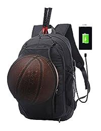 KEYNEW Laptop Backpack with Basketball Net USB Port 15.6 inch Computer Travel Shoulder Bag,Water Resistant - Black