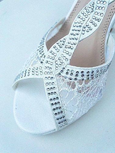 fashionfolie Femme Escarpins Mariage Dentelle Strass Talon Stiletto À Bout Ouvert Plateforme Sandales W002 Blanc