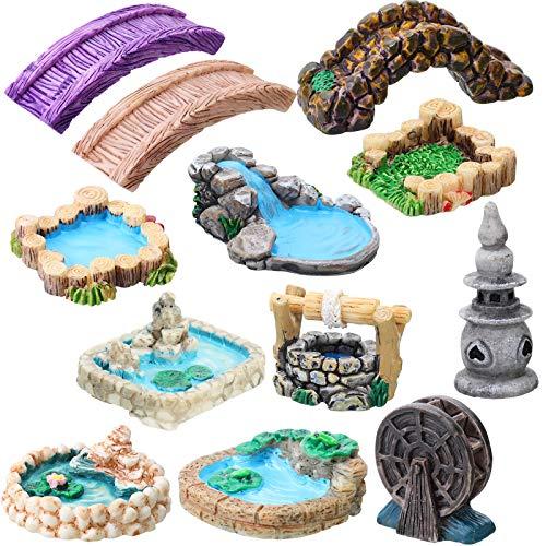 12 Pieces Fairy Garden Accessories Miniature Garden Bridge Figurines Mini Lighthouse Water Well Bridge Figurines…