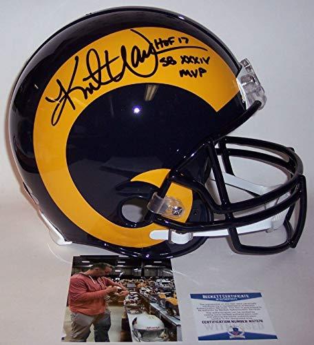 - Kurt Warner - Autographed Official Full Size Riddell Authentic Proline Football Helmet - St. Louis Rams Rams - BAS Beckett Authentication