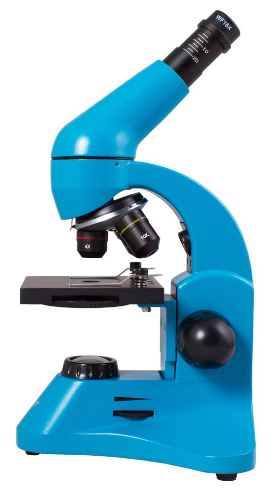 Levenhuk Rainbow 50L Plus Azure Student Microscope (64-1280x Magnification, Metal Body, Glass Optics) with Experiment Kit and Case by Levenhuk