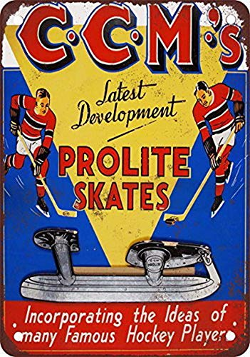MariaP CCM Prolite Hockey Skates Vintage Style Wall Home Office Pub Beer Funny Tin Sign Metal Tin Sign 8X12 - Club Wine Estate