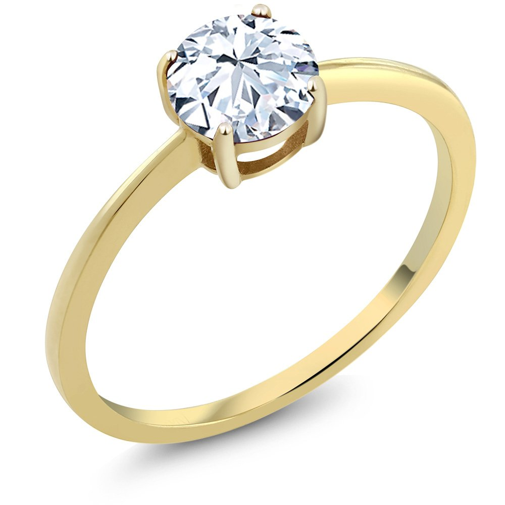 Hearts And Arrows 1.20 Ct White Created Sapphire Solid 10K Yellow Gold Engagement Ring