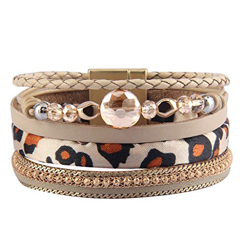 Jenia Women Leather Cuff Bracelet Multi Strand Wrap Around Bracelets Charm Leopard Skin Boho Bracelet for Girls, Mother, Wife, Ladies Gift