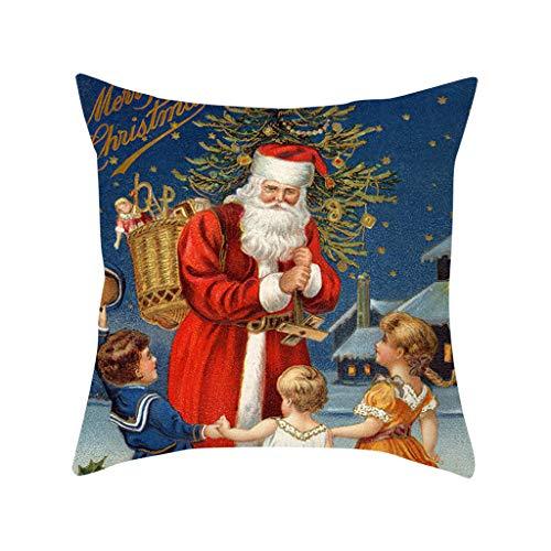 shamoluotuo Farmhouse Christmas Style Throw Pillow Covers Print Pillowcase Christmas Home Decorations Polyester Peach Skin Zipper Closure Pillow Covers 18x18 inch, Santa Holding a Christmas Tree (Diy Pottery Christmas Barn)