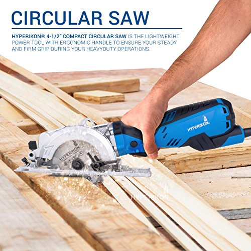 Hyperikon Circular Saw Set, 4-1 2 Inch Corded, Electric Compact Saw, 5.0 amp Power, 3500 RPM