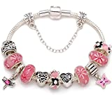 ''A Garden Of Love Grows In A Mother's Heart'' Pink Flower Bead Charm Silver-tone Bracelet