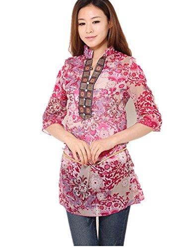 Womens Vintage Colourful Floral Print Casual Slim Shirt Blouse Top (XL ( US L), Rose)