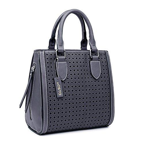 - seOSTO Women Top Handle Satchel Handbags Shoulder Bags Tote Purse (Grey)