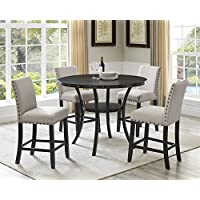 Roundhill Furniture P162TA Biony Dining Collection Espresso Wood Counter Height Set with Tan Fabric Nailhead Stools
