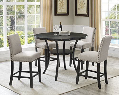 Roundhill Furniture P162TA Biony Dining Collection Espresso Wood Counter Height Set Fabric Nailhead Stools, Tan