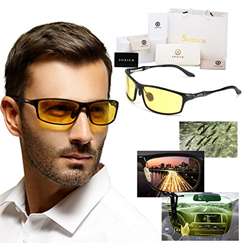 Soxick® HD Metal Night Driving Polarized Rectangle Full Rim Sunglasses for Men - Face For Glasses Best Oval Men