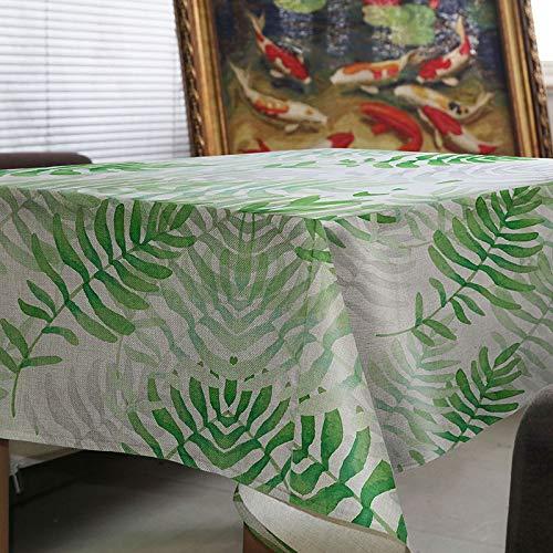 LMDY Decoracion para el hogar Mantel Creativo Simple Planta Verde Patron de Hojas Cocina Mesa de cafe Mesa de Comedor del Hotel Mantel 2 (140 * 180 cm)