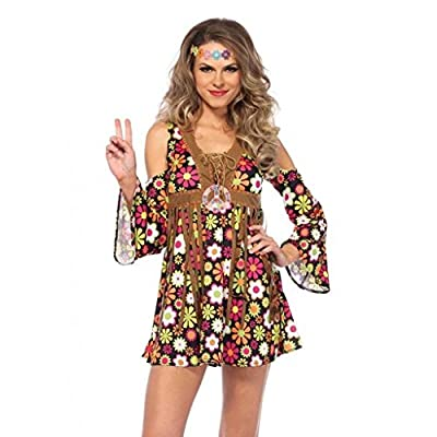 Women's Hippie Star Flower 60s 70s Floral Dress Outfit Adult Halloween Costume