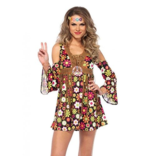 Women's Hippie Star Flower 60s 70s Floral Dress Outfit Adult Halloween Costume Large Plus Size (70s Plus Size Fancy Dress Costumes)
