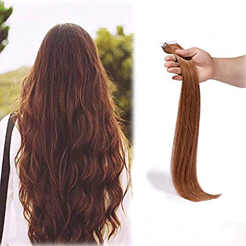 SHOWJARLLY Tape In Hair Extensions (20inch-50g, 30 Medium/Light Auburn) by SHOWJARLLY