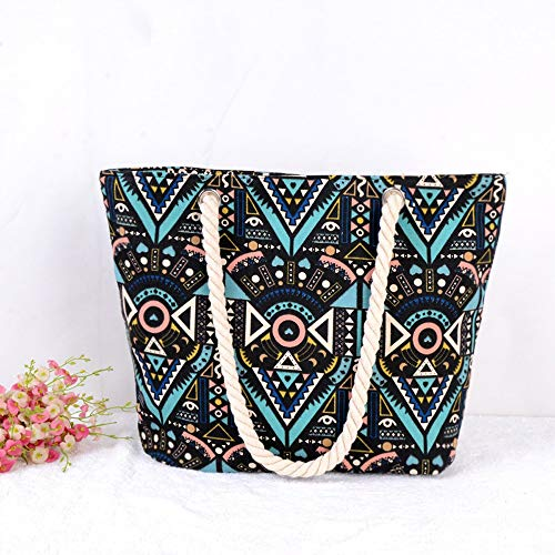 Ysswjzz Handväskor med stor kapacitet, kreativ och trendig kanvas damväskor, etniska tryckta axelväskor