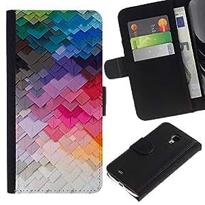 KingStore / Leather Etui en cuir / Samsung Galaxy S4 Mini i9190 / Arte moderno de construcción Colores;