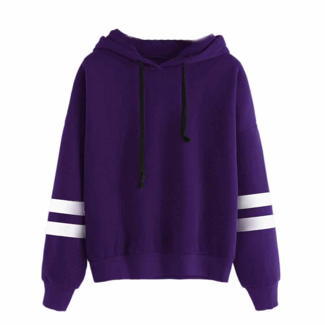 OWMEOT Womens Girls Lovely I Am a Cat Hooded Long Sleeve Cotton Sweatshirt Casual Hoodie Sport Pullover Tops (Purple, XL)