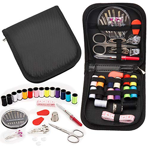 (68Pcs Okom Sewing Kit, Sew Kit for Home, Traveler, Adults, Emergency- Premium Sewing Kits, Zipper Portable & Mini- Filled with Sewing Needles, Scissors, Thread, Tape Measure Set etc- Gift)