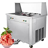 Happybuy Fried Ice Cream Machine 1120W Commercial Fried Ice Cream Maker for Yogurt with Double Pan Five Buckets Fried Ice Cream Roll Machine Bar Dessert Shop (Double Pan)