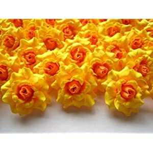 "(100) Silk Yellow Roses Flower Head - 1.75"" - Artificial Flowers Heads Fabric Floral Supplies Wholesale Lot for Wedding Flowers Accessories Make Bridal Hair Clips Headbands Dress 63"