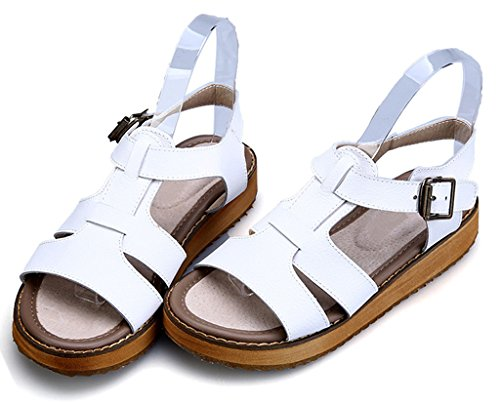 Open Women's Heel White Strap Ankle Toe Slingback Gladiator Sandals CAMSSOO Chunky Wedge 6USwXRRx
